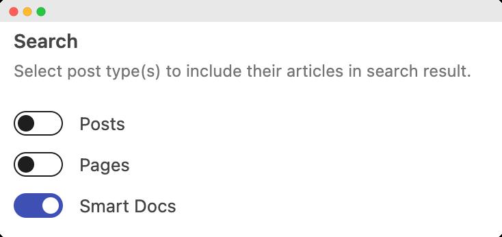 Search option in SmartDocs Settings Menu