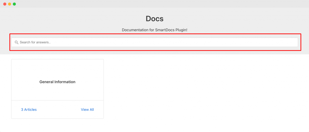 Search Bar on Docs Page