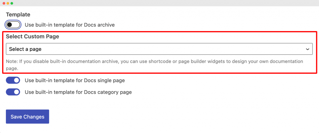 Set a Custom Page for Docs Archive Page