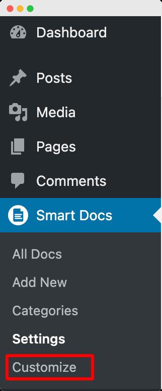 Customize option in SmartDocs Menu