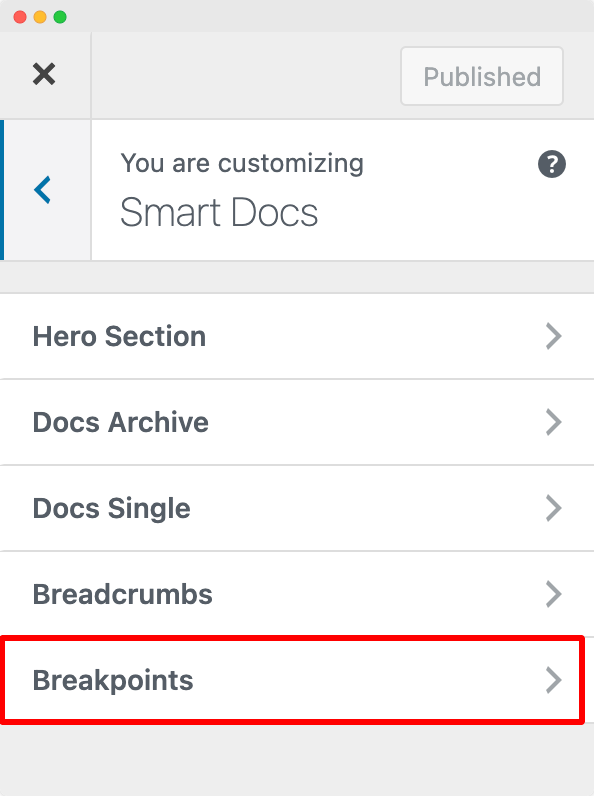Customize Breakpoints in SmartDocs from Customizer
