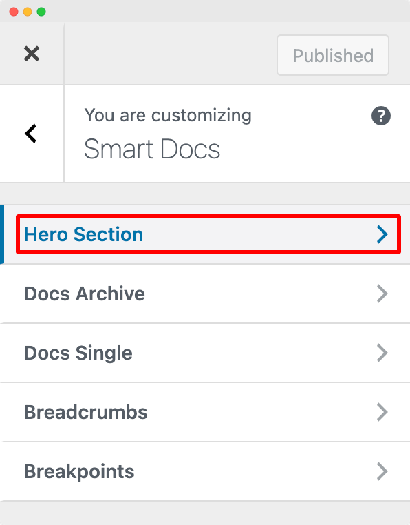 Customize Hero Section of SmartDocs from Customizer
