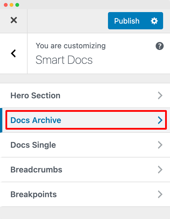 Customize Docs Archive Section of SmartDocs from Customizer