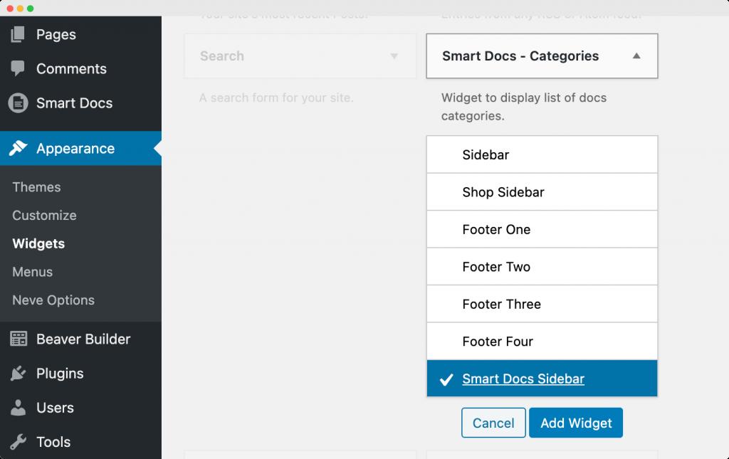 SmartDocs - Categories Widget