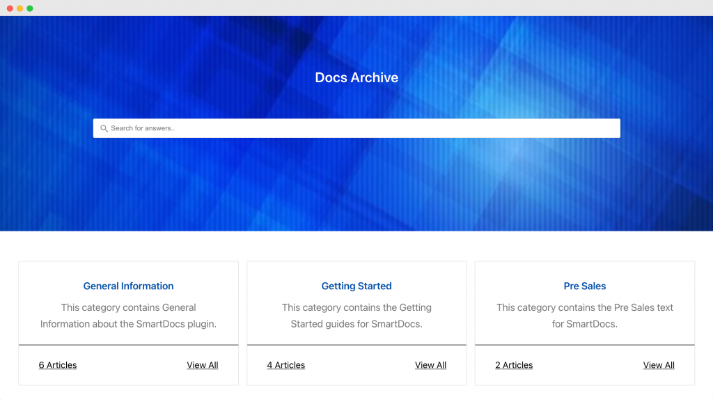Custom Doc Archive Page created with Beaver Builder