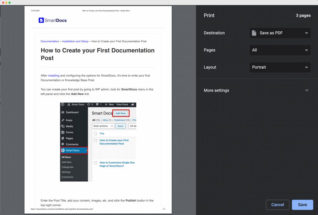 Save a Doc as PDF